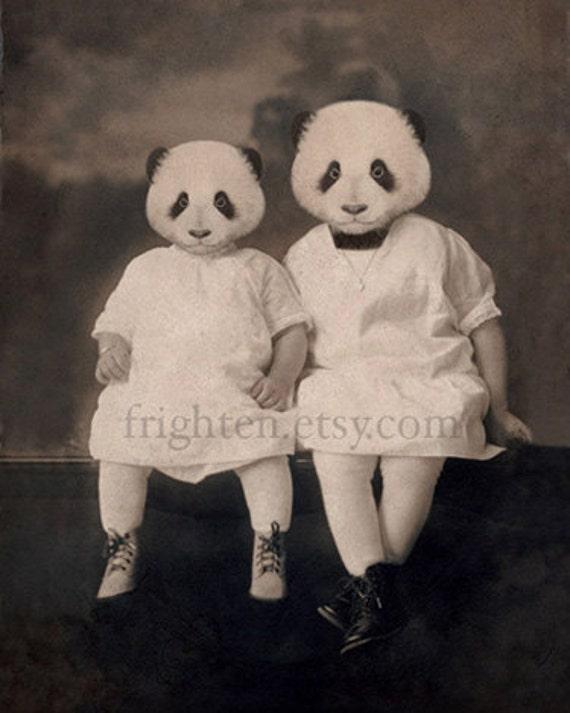 Panda Bear Art, Sisters Art, Nursery Decor, 5x7 Print, Small Wall Art, Anthropomorphic, Mixed Media Art, Animal Photography, Gift for Sister