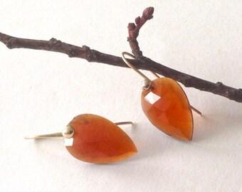 14k Gold Earrings, Rose Cut Hessonite Garnet, ready to ship