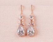 Rose Gold Bridal earrings  Wedding jewelry Crystal Wedding earrings Bridal jewelry, Amielynn Earrings