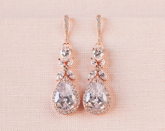 Rose Gold Bridal earrings  Wedding jewelry Crystal Wedding earrings Bridal jewelry, Amielynn Earrings