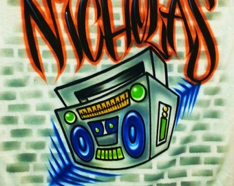 Airbrush T Shirt Boombox Bricks Background, Airbrush Boombox, Boombox Shirt, Hip Hop Shirt, Graffiti Shirt, Grafitti Shirt, Radio Shirt