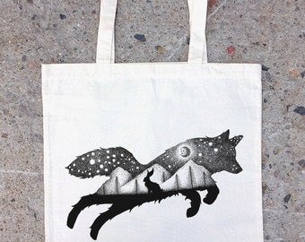 Tote Bag - The Fox and Hare - Screen Printed Cotton Canvas Tote