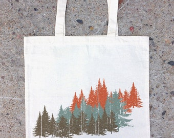 Colorful Forest Tote Bag - Cotton Canvas Tote