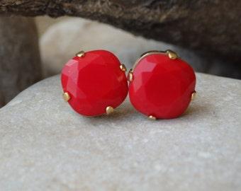 Red Swarovski Post Earrings, Swarovski Post Earrings, Small Red Earrings, Crystal Earrings, Red Post Earrings, Women Jewelry Gift for Her
