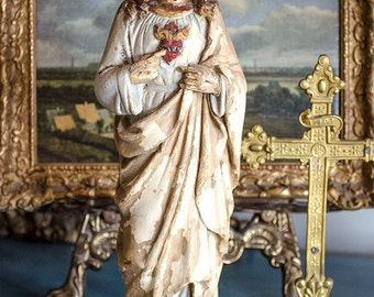Antique French Jesus Christ Statue, Sacred Heart, Plaster, From France