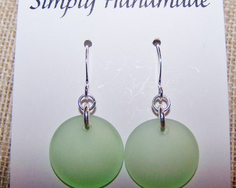 Sea glass earrings, sea foam green sea glass earrings