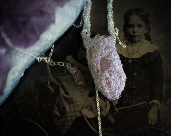 Amethyst Cactus Quartz and Sterling Silver Necklace