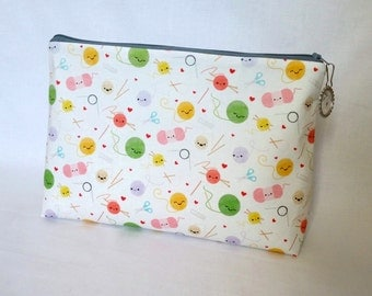 Large Happy Yarn Zipper Storage Pouch S93