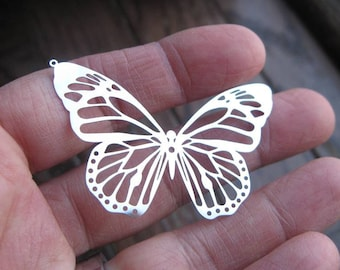 4 Stainless Steel Butterfly Charms in Silver Tone - C2340