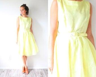 Vintage yellow 1950's dress // 1960's full circle skirted dress // classic yellow prom dress // sleepless dress // fancy formal prom dress