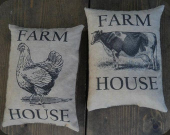 Farm House Cow and Chicken Feed Sack Pillow