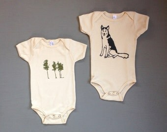 Camping Baby Set, Husky, Trees, Baby Gift, Baby Onesies, 3-6, 6-12 months