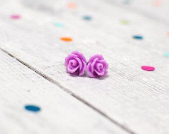 Lilac Rose Earrings | Nickel Free Studs | Purple