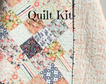 Girl Quilt Kit, Woodlad Spring, Riley Blake, Deer Aztec Coral Navy Blue, Forest Animals Simple Easy Beginner Patchwork DIY Do It Yourself