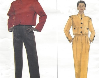 90s Givenchy Womens Military Style Jacket & Pants Vogue Paris Original Sewing Pattern 1632 Size 8 10 12 Bust 31 1/2 to 34 UnCut