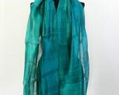 """100 % Thai Raw Pure Silk Scarf Shawl Wrap  24""""x62"""" Large Handmade Dark Cyan H41"""