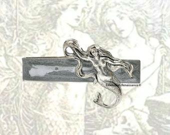 Mermaid Tie Clip Vintage Inspired Sea Siren Inlaid in Hand Painted Silver Enamel Nautical Fantasy Inspired Tie Bar Accent Custom Color Optio