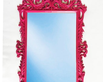 Hollywood Regency Vintage hot pink mirror: ornate hot pink mirror - vintage home decor -