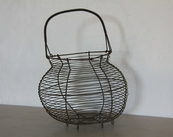 French Wirework, Wire Egg Basket. Rustic Metal Egg Basket.  French Country Kitchen Decor.