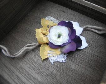 Photography Prop Dainty Flower Tie back wrap headband. Baby Flower Headband. Lace, netting, purple, yellow, gold. Headband Baby headbands.