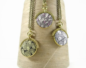 "Liberty of London Grayson Perry ""Cranford"" print fabric set in solid brass replica vintage fob pendant"