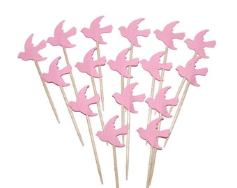 24 Pink Dove Party Picks, Cupcake Toppers, Food Picks