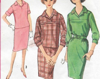 Bust 36-1960's Misses' One and Two Piece Dress Simplicity 5057 Sz 16