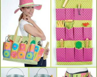 Simplicity Pattern 2632 Gardening Accessories - Tote, Wall Caddy, Bucket Caddy, Tool Belt and Hat One Size New