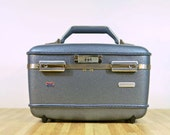 Vintage American Tourister Train Case Travel Makeup Suitcase Slate Blue Traveling Tourist Hardshell