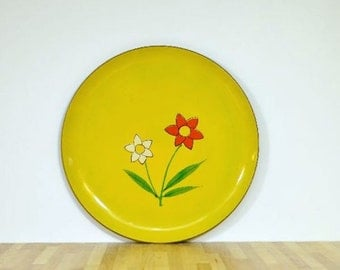 Vintage Mod Flower Power Serving Tray Norleans Japan Alcohol and Stainproof