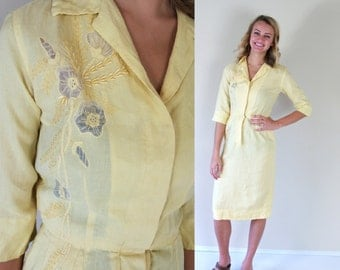 vtg 50s YELLOW sheer cut out WIGGLE DRESS xs linen embroidered madmen pinup day dress retro pencil skinny fitted pockets