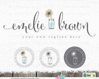 photography logo sunflower logo premade logo Flower logo flower logo photography logos and watermarks sewing logo mason jar logo blog logo