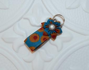 Mini Key Fob | Fabric Key Fob | Key Chain | Blue Dark Gold Red