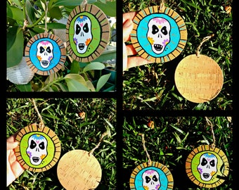 Cork Sugar Skull Ornaments