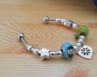 Charms bracelet,beaded bracelet,pandora bracelet,rigid bracelet,beaded cuff,charmed bracelet,glass beads,animals cuff,beaded jewelry
