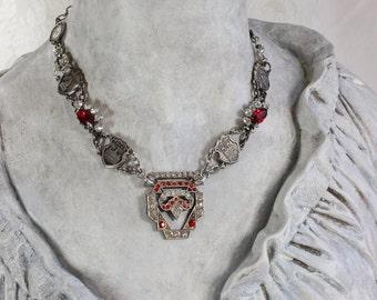 Années Folles- Antique Paris Assemblage Necklace- Silver, Red- Art Deco Rhinestone Buckle- Souvenir Links- One of a Kind by Karen Graham