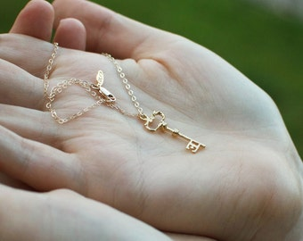 Magical Golden Key Necklace - Petite Gold Skeleton Key Romantic Necklace