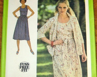 Simplicity 9039 Scoop Neck Dress, Jacket, Sundress, Tie Belt, Womens Misses Vintage 1970s Sewing Pattern Size 20 Bust 42 Uncut Factory Folds