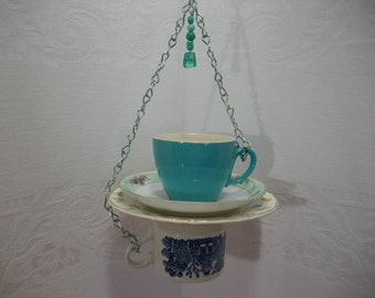 Bird Feeder / Recycled Vintage Mismatched China Bird Feeder / Tea Cup Saucer Hanging Bird Feeder / Garden Teacup Bird Feeder /  Garden Art