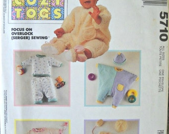 McCall's 5710, Cozy Togs Infants Jumpsuit, Top, Pants, Hat, and Mittens Pattern, All Sizes, Vintage 1991