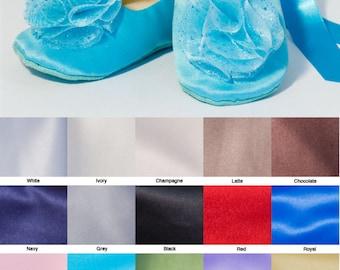 Easter Shoes, Pool Blue Satin Flower Girl Shoe, Robin Egg Toddler Ballet Slipper, Baby Ballet Flat, Spring Wedding Shoe, Baby Souls Shoes