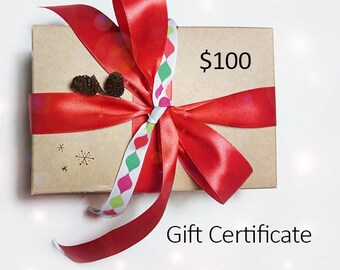 Gift Certificate - Value 100 US dollars - downloadable pdf file