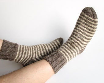Wool Socks - EU Size 43-44 - Striped 100% Natural Organic - Hand Knitted from Undyed Wool Yarn - Winter Clothing