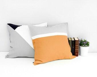 Color block cushion, Rust linen pillow, Orange and grey pillow cover, Natural decorative pillow, Modern throw pillow or orange accent pillow