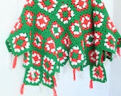 Granny Squares Christmas Tree Skirt Red, Green and White Yarn Handmade Crocheted