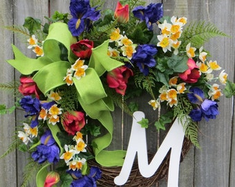 Front Door Wreath, Easter Door Wreath, Spring Tulip Wreath, Tulip Wreath, Yellow Purple Red Wreath, Monogram Wreath, Burlap Bow