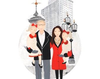 Custom Family Portrait - Digital Illustration, Personalized Family Art, Gouache, Watercolor Family Drawing, Gift for Grandma, Gift for Mom