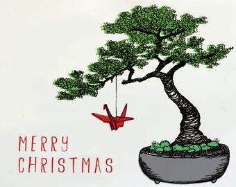 Bonsai Tree Christmas Card with Paper Crane Set of 6