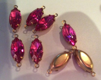 "Vintage Swarovski Fuchsia 15x7mm Pendants/Earrings Double ring ""gold"" settings Qty - 2 Last Lot"