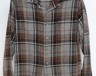 McGregor Wool Blend Plaid Shirt Mens Medium Vintage Gray Grey Black Brown Loop Collar 50s 1950s Made In USA Rayon